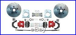 1957-71 Disc Brake Kit Only D100 Dodge Trucks Drilled Slotted Rotors Red Caliper