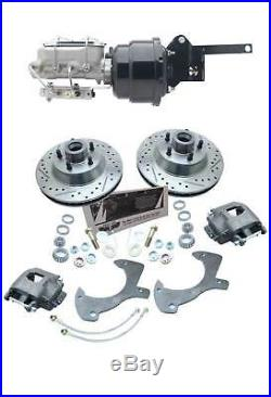 1961-72 FORD Galaxie Power Black Booster Disc Brake Kit Drilled/ Slotted Rotors