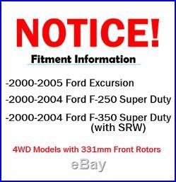 2000 2002 2003 2004 Ford F-250 4WD Front Rear DRILL Brake Rotors + Ceramic Pad