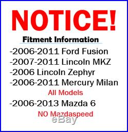 2006 2007 2011 Fusion MKZ Zephyr 6 Milan Front Rear DRILL Rotors + Ceramic Pad