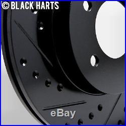 2 FRONT + 2 REAR Black Hart DRILLED & SLOTTED Disc Brake Rotors C1411