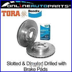 2 Front Drilled Slotted Disc Rotor Bendix Brake Pads BF FG XR6 Turbo XR8 5.4L V8