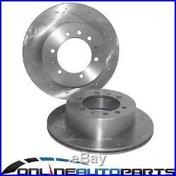 2 Rear Slotted + Drilled Disc Rotors + 4x4 Brake Pads fit Nissan Patrol GU Y61