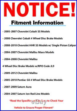 5LUG 04- 2010 2011 2012 CHEVY MALIBU G6 Front Rear DRILL Brake Rotor Ceramic Pad