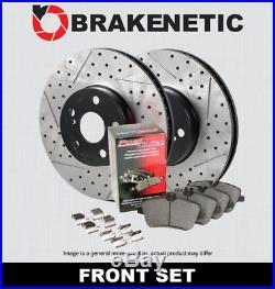 FRONT BRAKENETIC PREMIUM Drill Slot Brake Rotors + POSI Pads withBREMBO BPK27747