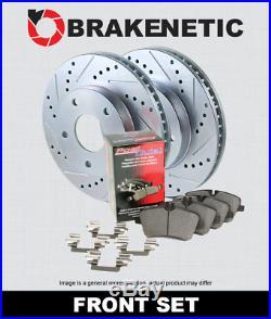 FRONT BRAKENETIC SPORT Drill Slot Brake Disc Rotors + POSI QUIET Pads BSK76605