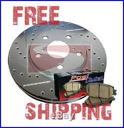 FRONT Drill Slot Brake Rotors + POSI QUIET Ceramic Pads for S60R V70R 04-07