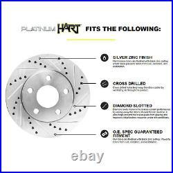 FRONT KITPlatinum Hart DRILLED & SLOTTED Brake Rotors +CERAMIC Pads- 1415