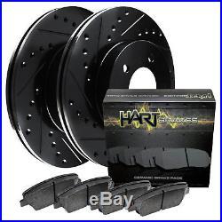 FRONT KIT Black Hart DRILLED & SLOTTED Disc Brake Rotors +Ceramic Pads F1881