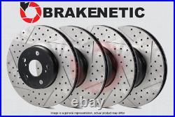 FRONT + REAR BRAKENETIC PREMIUM Drill Slot Brake Rotors withAKEBONO BPRS35996