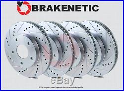 FRONT + REAR BRAKENETIC SPORT Drilled Slotted Brake Disc Rotors BSR74563