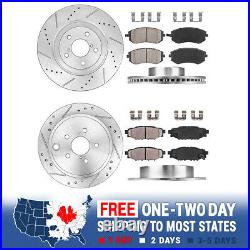FRONT+REAR DRILL SLOT BRAKE ROTORS AND CERAMIC PADS For 2010 2012 Legacy 2.5i