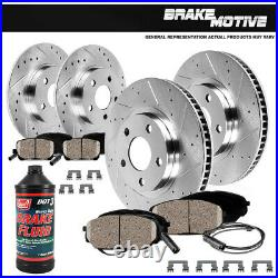 FRONT & REAR Drill Slot BRAKE ROTORS AND CERAMIC Pads For Mercedes CLK320 E320