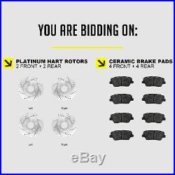 FRONT+REAR KITPlatinum Hart -DRILL & SLOT Brake Rotors +CERAMIC Pads- 1963