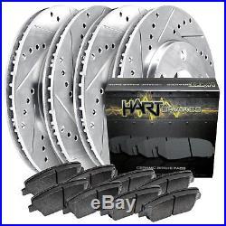 FRONT+REAR KITPlatinum Hart -DRILL & SLOT Brake Rotors +CERAMIC Pads- 2533