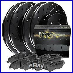 FRONT+REAR KIT Black Hart DRILLED & SLOTTED Brake Rotors +Ceramic Pads C1043