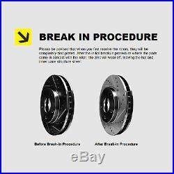 FRONT+REAR KIT Black Hart DRILLED & SLOTTED Brake Rotors +Ceramic Pads C1386