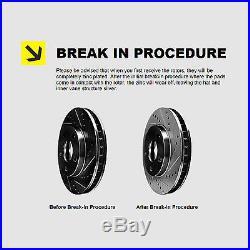 FRONT+REAR KIT Black Hart DRILLED & SLOTTED Brake Rotors +Ceramic Pads C1411