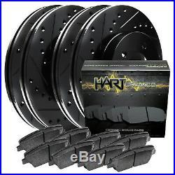 FRONT+REAR KIT Black Hart DRILLED & SLOTTED Brake Rotors +Ceramic Pads C1589