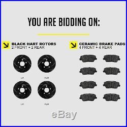 FRONT+REAR KIT Black Hart DRILLED & SLOTTED Brake Rotors +Ceramic Pads C2378