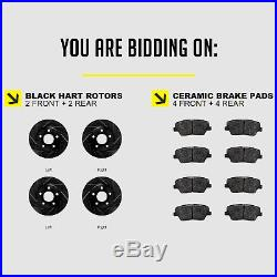 FRONT+REAR KIT Black Hart DRILLED & SLOTTED Brake Rotors +Ceramic Pads C2532