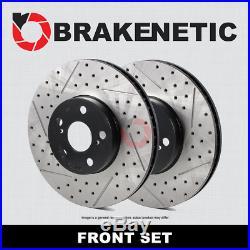 FRONT SET BRAKENETIC Drill Slot Brake Rotors SRT with6 PISTON BREMBO BNP63088. DS