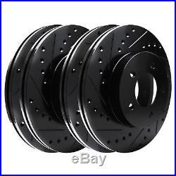 FULL KIT BLACK HART DRILL/SLOT BRAKE ROTORS-Chevrolet COBALT 05-07 2.4L SS