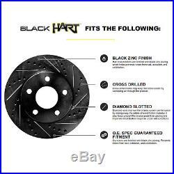 FULL KIT BLACK HART DRILL/SLOT BRAKE ROTORS & PADS-Honda ACCORD 2008-2010 LX-S