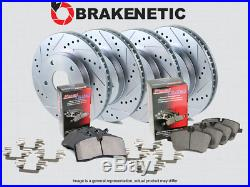 F&R BRAKENETIC SPORT Drill Slot Brake Disc Rotors + POSI QUIET Pads BSK76380