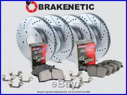 F&R BRAKENETIC SPORT Drill Slot Brake Rotors +POSI QUIET CERAMIC Pads BSK76184