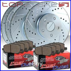 (F&R) Drill Slot Brake Rotors + POSI QUIET Ceramic Pads for Subaru