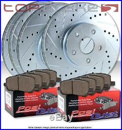 (F&R) TOPBRAKES Drill Slot Brake Rotors + POSI QUIET SM Pads TBP57720