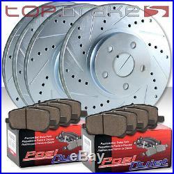 (F&R) TOPBRAKES Drill Slot Brake Rotors + POSI QUIET SM Pads (withBREMBO) TBP15369