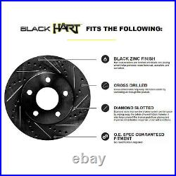 Fits 2003 GMC Sierra 1500 Front Rear Black Drill Slot Brake Rotors+Ceramic Pads