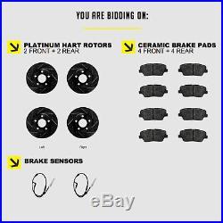 Fits BMW 328i, 328xi Front Rear Black Drill Slot Brake Rotors+Ceramic Brake Pads