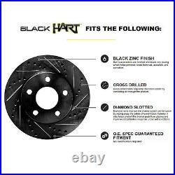 Fits Ford Explorer, Flex, Taurus Rear Black Drill Slot Brake Rotors+Ceramic Pads