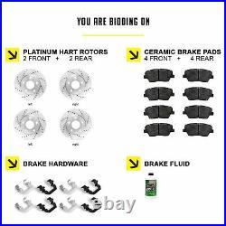 Fits Jeep Grand Cherokee Front Rear Drill Slot Brake Rotors+Ceramic Brake Pads