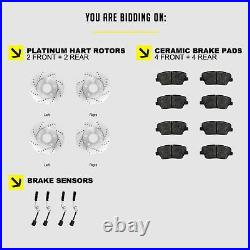 Fits Mercedes-Benz C240, C230 Front Rear Drill Slot Brake Rotors+Semi-Met Pads