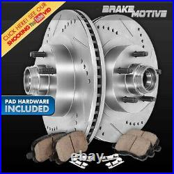 For 2000 2004 Ford F150 2WD 5Lug Front Drill Slot Brake Rotors & Ceramic Pads