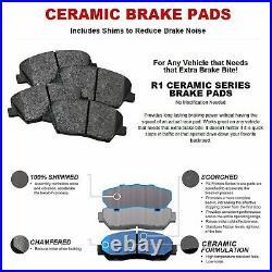 For 2005-2015 Toyota Tacoma Front Black Drill/Slot Brake Rotors+Ceramic Pads