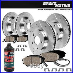 For 2007 2010 BMW X5 X6 Front & Rear Drill Slot BRAKE ROTORS AND CERAMIC Pads