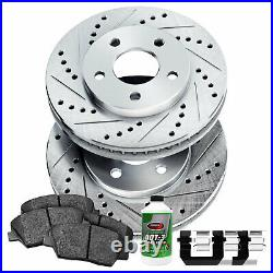 For 2011-2013 BMW 535i Front PSport Drill Slot Brake Rotors+Ceramic Brake Pads