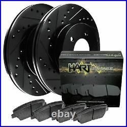 For Chevrolet Silverado 2500 HD Front Black Drill Slot Brake Rotors+Ceramic Pads