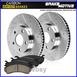 For Dodge Ram 1500 4WD 4X4 Front Drill Slot Brake Rotors & Carbon Ceramic Pads