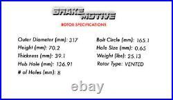 For Dodge Ram 2500 3500 1994 1999 Front Drill Slot Brake Rotors Ceramic Pads