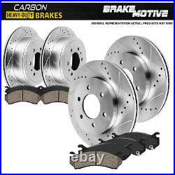 For F150 Mark Lt 4WD Front+Rear Drill Slot Brake Rotors + Carbon Ceramic Pads