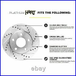 For Ford Explorer, Flex, Taurus Rear Drill Slot Brake Rotors+Ceramic Brake Pads