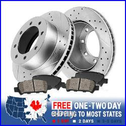 For Ford F350 F-350 Dually Rear Drill Slot Brake Rotors And Ceramic Pads