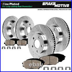 For Lancer Evo 8 9 AWD Front Rear 4 Drill Slot Brake Rotors And 8 Ceramic Pads