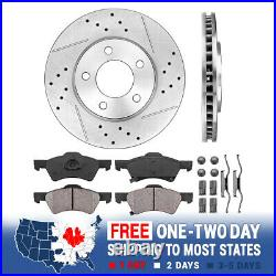 For Town & Country Grand Caravan Front Drill Slot Brake Rotors & Ceramic Pads
